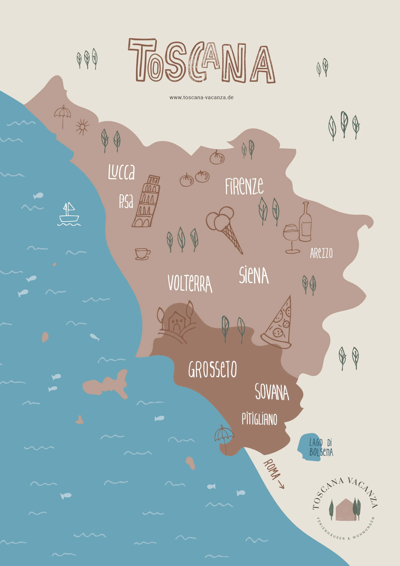 Landkarte der Toskana Maremma